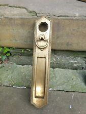 Vintage brass letter box/plate vertical with knocker 305mm x 58mm