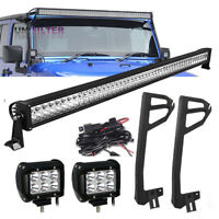 "50"" 52"" +4"" LED Light bar + Mount Bracket + Wire Fit For Jeep Wrangler JK 07~17"