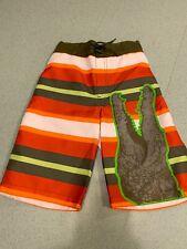 NWT Gymboree Boys 7 White Orange Green Stripe Swimsuit Shorts Swimsuit Crocodile