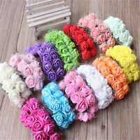 144PCS Mini Artificial Fake Rose Flower Plastic Bulk Wedding Party Decor Gift