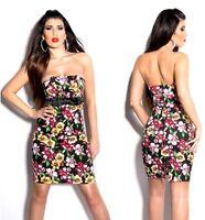 Vestito donna miniabito abito aderente FIORI floreale elegante nuovo