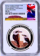 2017 P Berlin Show Australia COLORED Kookaburra Silver NGC MS 70 1oz $1 Coin ER
