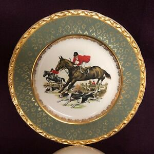 Royal Falcon Ware England Fox Hunting Horse Hounds Weatherby Hanley Green Plate