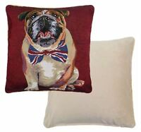 BRITISH BULLDOG TAPESTRY UNION JACK BOW TIE RED WHITE BLUE CUSHION COVER 18""
