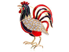 Crowing Rooster Hen Pin Brooch B0431 Clear Enamel Red Crystal Rhinestone Chicken