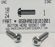#10-24x1 Button Head Hex Socket Cap Screws Alloy Steel Zinc Plated (12)