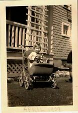 Vintage Antique Photograph Adorable Little Baby Sitting in Wicker Baby Carriage