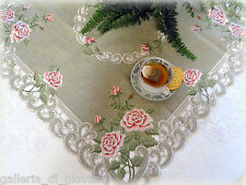 "BELLA ROSA  Lace Doily 33""SQ  Table Topper  Pink Rose Romantic Victorian"