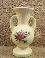 Vintage Ceramic White & Flowers Two Handle Vase 6 Inches Tall Home Decoration