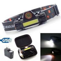 XPE COB LED Headlamp USB Rechargeable Mini Headlight head light Torch Flashlight