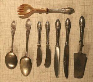 HZ2-11) Konvolut 8 Teile Besteck Solingen ca 1900-1950 100 versilbert Silber +++