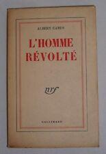 EDITION ORIGINALE NUMEROTE 1/260 VELIN PUR FIL. CAMUS ALBERT. L'HOMME REVOLTE