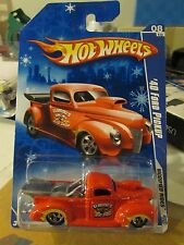 Hot Wheels '40 Ford Pickup Modified Rides Red Snowflake Card