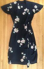 Vintage 40s 1940s Black Pink Green Sequin Rayon Crepe Flutter Sleeve Dress S M