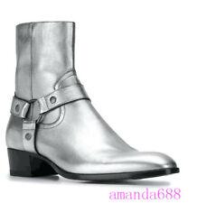 Men Genuine Leather Fashion Zipper Ankle Boots Cuban Heels Western Chelsea Shoes