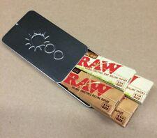 4 PKS 1 1/4 RAW Rolling Papers 2 Organic Hemp/ 2 Classic + Metal Cigarette Case