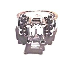 Stephen LAGOS Ring White-Topaz Solitaire Caviar Sterling Silver Sz 7 Vintage