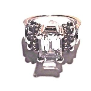Stephen LAGOS Ring White Topaz, SS, Gold Solitaire Vintage Caviar Collection Sz7