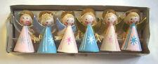 6 Kurt Adler vintage 1960's 70's paper angel Christmas ornaments in original box