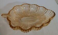 """Vintage Pink Depression Glass Leaf Shaped Dish Bowl 6"""" Candy Nut Trinket Relish"""