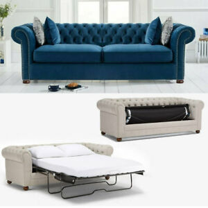 50% Deposit for Chesterfield 3 Seater Sofa Bed Velvet 5187-14 Royal Blue