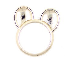 Very cute gold tone cat ears ring UK Size L