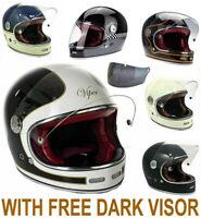 VIPER F656 FIBREGLASS RETRO VINTAGE FULLFACE MOTORBIKE MOTORCYCLE HELMET + VISOR