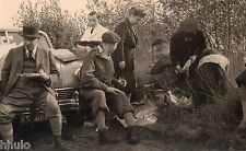 BK058 Carte Photo vintage card RPPC Homme groupe pic nic voiture car nature