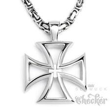 XL Edelstahl Herren Anhänger Eisernes Kreuz silber Ritterkreuz Königskette Biker