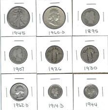 NINE VARIOUS 90% SILVER U.S. COINS - CIRCULATED COINS - NICE MIX