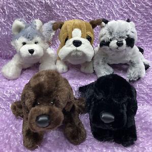 Collectible Plush Lot WEBKINZ DOGS Husky, Black Lab, Bulldog, Raccoon NO CODES