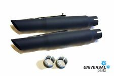 "PAIR UNIVERSAL 15"" SLASH CUT BLACK MOTORBIKE EXHAUST SILENCER CUSTOM CAFE RACER"