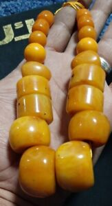 ANTIQUE egg yolk african amber HUGE NECKLACE BEADS 105 gram