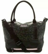 ELLE SPORT Large Black Pink Leopard Weekender Bag with Shoulder Strap