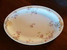 Haviland Limoge Oval Serving Platter Schleiger 42 France Pink Roses Green Leaves