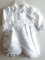Boy Baby Girl Satin white Long sleeves christening shower Bowtie outfits suits