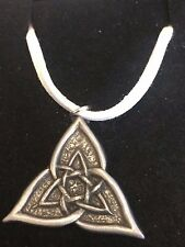 "CELTIC TRIANGLE DR55 Made From Fine English Pewter On a 18"" White Cord Necklace"