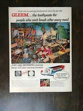 Vintage 1957 Gleem Toothpaste Full Page Original Color Ad