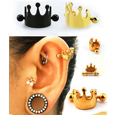 1-3PC 16G Steel Anodized Crown Shield Ball Ear Helix Cartilage Cuff Ring Earring