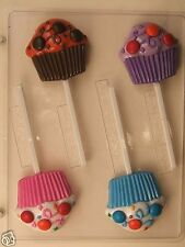 CUPCAKE WITH CANDY DIMPLES LOLLIPOP CLEAR PLASTIC CHOCOLATE CANDY MOLD AO242