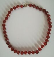 Vintage Carnelian Agate Knotted Necklace 19cm Drop 14KG Plated Fastening Ex Cond