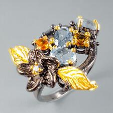 Vintage Natural Blue Topaz 925 Sterling Silver Ring Size 8/R110648