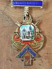 More details for solid silver gilt  enamel masonic 'double' medal munia lodge 1952