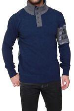 Unifarbene Herren-Pullover mit Knöpfen und feiner Strickart