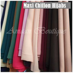 Premium Quality Plain Chiffon Hijab Georgette Scarf Shawl Wrap Summer Viscose