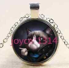 Glass Chain Pendant Necklace #2383 Vintage Steampunk cat Cabochon Tibetan silver