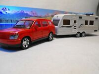 TOY CAR AND CARAVAN ,  DIECAST CAR AND CARAVAN SET CAR AND TOURING CARAVAN GIFT