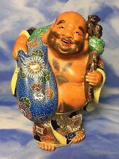 "RARE Antique 8"" Enameled Wucai Porcelain Maitreya Buddha Figurine Gold China EC"
