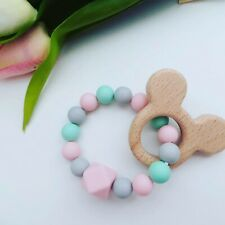 Mickey Mouse Teething Ring sensory Toy Silicone Beads Natural Wood Pink, Mint