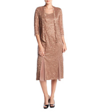 NWT RM RICHARDS BROWN SEQUIN LACE JACKET DRESS SIZE 16 $108